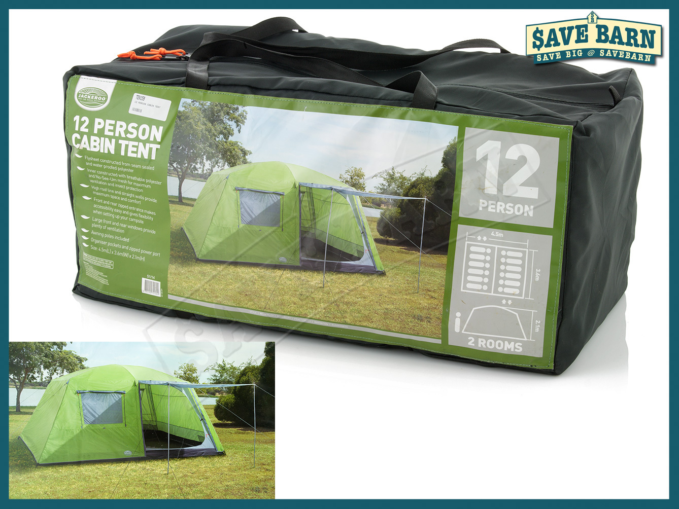 Click image to enlarge & savebarn - Cabin Tent 12 Person Tents with 2 Rooms u0026 Awning for sale!